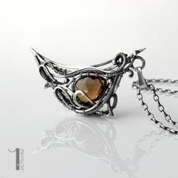 naszyjnik srebrny,wire wrapping,kwarc dymny - Naszyjniki - Biżuteria