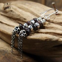 kolczyki z surowych granatów,kolczyki z czaszkami - Kolczyki - Biżuteria