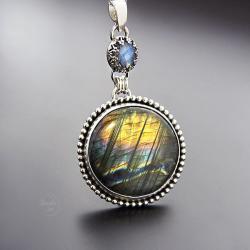 srebrny,wisior,z fioletowym labradorytem - Naszyjniki - Biżuteria