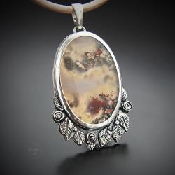 srebrny,naszyjnik,z agatem mszystym,z kwiatami - Naszyjniki - Biżuteria