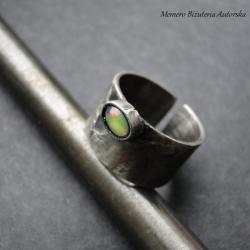 srebro,opal,surowy,oksydowany - Pierścionki - Biżuteria