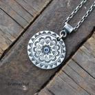 Naszyjniki srebrna mandala,mandala,surowe srebro