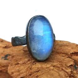 ksieżycowy,księzyc,srebrny,szary,sygnet,błękitny, - Pierścionki - Biżuteria