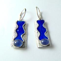 kolczyki srebrne z tanzanitami - Kolczyki - Biżuteria