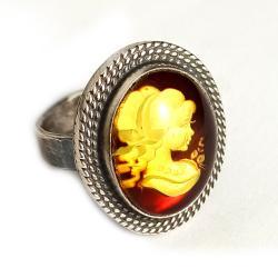 bursztyn,srebrny,filigran,oksyda,retro,pierścień, - Pierścionki - Biżuteria