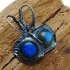 Kolczyki labradoryt,blask,srebrne,kobalt,niebieskie,retro