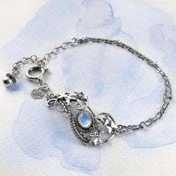 srebrna,bransoletka,kamień,księżycowy,motyl,ciba - Bransoletki - Biżuteria