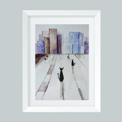 akwarela,koty,miasteczko - Obrazy - Wyposażenie wnętrz