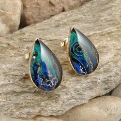złoto,kolczyki,morskie,turkusowe,krople, - Kolczyki - Biżuteria