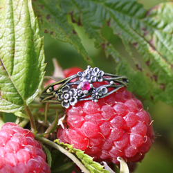 maliny,srebrne kwiaty,rubin,gałązki - Pierścionki - Biżuteria