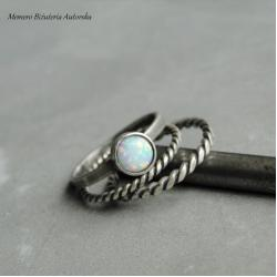 srebro,opal,arlekin,zestaw,trio - Pierścionki - Biżuteria