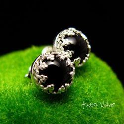 nehesi,wkrętki,srebrny,srebro,onyksem,kolczyki - Kolczyki - Biżuteria