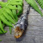 Naszyjniki srerbny,natura,liść dębu,organiczny