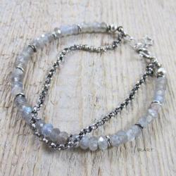 bransoletka Labradoryt z łańcuszkiem,srebro - Bransoletki - Biżuteria
