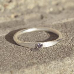 minimalizm,pierścionek z ametystem,boho,prosty - Pierścionki - Biżuteria