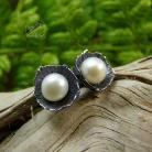 Kolczyki srebrne,perłowe,sztyfty,wkrętki,perła biała