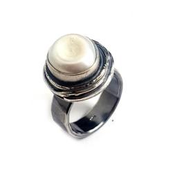 perła,srebrny,szarości,topaz,królewski,pearl,retro - Pierścionki - Biżuteria