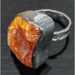 bursztyn,złoty,miodowy,srebro,blask,orange,retro - Pierścionki - Biżuteria