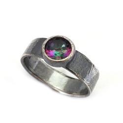 kwarc,mystic,srebro,tęcza,srebrny,oksyda,szary - Pierścionki - Biżuteria