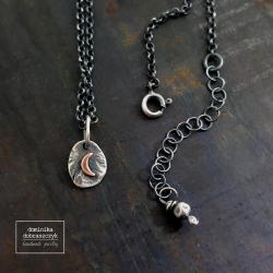 srebro,księżyc,surowy,minimalizm, - Naszyjniki - Biżuteria