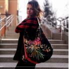 Na ramię hobo,torba worek,na ramię,welurowa,sabitatka,kwiat