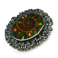 amonit,ammolit,blask,tęczowy,kolory,szary,srebrny - Pierścionki - Biżuteria