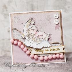 powitanie,narodziny,maleństwo,dziecko,dziewczynka - Kartki okolicznościowe - Akcesoria