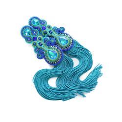 długie kolczyki,kolczyki soutache,niebieskie - Kolczyki - Biżuteria