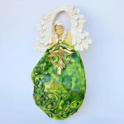 anioł ceramika bierzmowanie pozłacany - Ceramika i szkło - Wyposażenie wnętrz