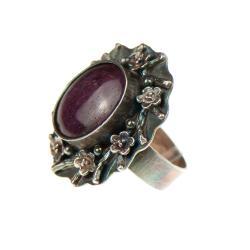 pierścionek,z rubinem,rurowy,srebrny - Pierścionki - Biżuteria