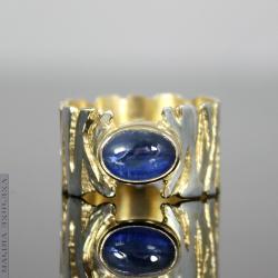 kyanit,kianit,faktura,pozłacany, - Pierścionki - Biżuteria