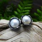 Kolczyki sztyfty,perła,romantyczne,srebrne,perłowe,biała