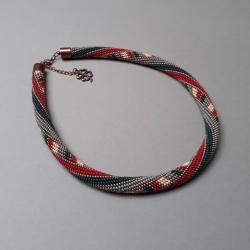 sznur,na szydełku,z wzorem - Naszyjniki - Biżuteria