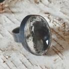 Pierścionki kryształ górski,blask,srebro,okazały,oksyda,retro