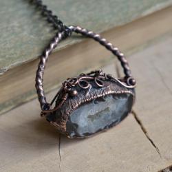wisior z miedzi,geoda wisior,biżuteria miedź - Wisiory - Biżuteria