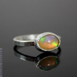 opal,delikatny,prosty,młtkowany - Pierścionki - Biżuteria