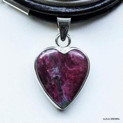 wisior z rubinem,naszyjnik z rubinem,srebro,biżute - Naszyjniki - Biżuteria