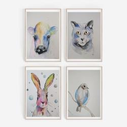 akwarela,zwierzęta - Obrazy - Wyposażenie wnętrz