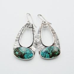 srebrne kolczyki z azurytem - Kolczyki - Biżuteria