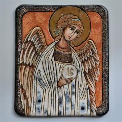 Beata Kmieć,ikona ceramiczna,Anioł Stróż - Ceramika i szkło - Wyposażenie wnętrz