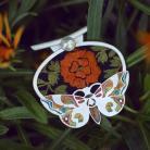 Naszyjniki srebrny wisior z ćmą,emaliowany motyl
