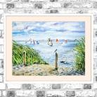 Obrazy akwarela,morze,krajobraz,surferzy