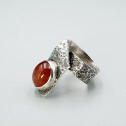srebrny pierścionek z karneolem - Pierścionki - Biżuteria
