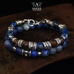 męskie bransolety z lapis lazuli,biżuteria męska - Dla mężczyzn - Biżuteria