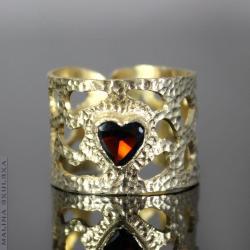serce,granat,ażurowy,otwarty,regulowany,unikatowy - Pierścionki - Biżuteria