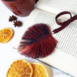 lniana zakładka do książki z piórkiem,prezent dla - Zakładki do książek - Akcesoria