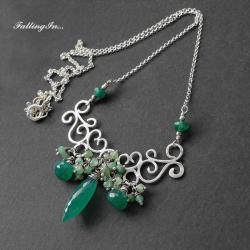 naszyjnik,koronkowy,zielony,z onyksem,wiosenny - Naszyjniki - Biżuteria