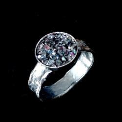 karborund,srebrny,blask,weglik krzemu,mineral - Pierścionki - Biżuteria