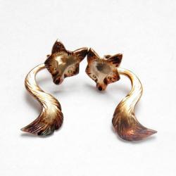 srebro,kolczyki,liski,prezent - Kolczyki - Biżuteria