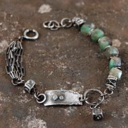 bransoleta ze srebra i szmaragdów - Bransoletki - Biżuteria